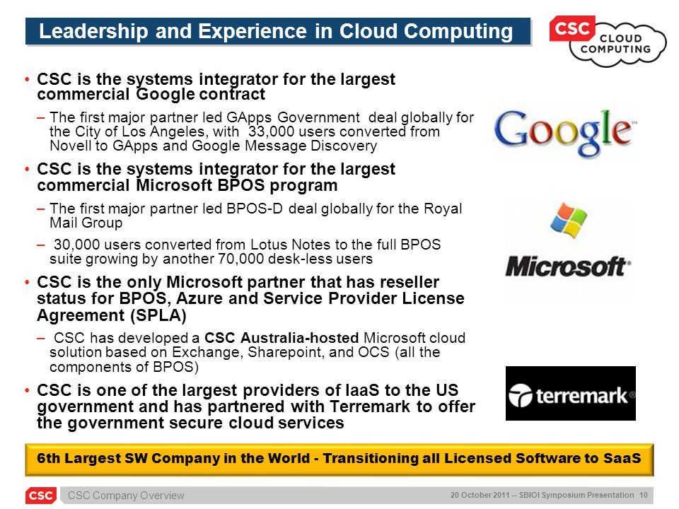 Leadership and Experience in Cloud Computing