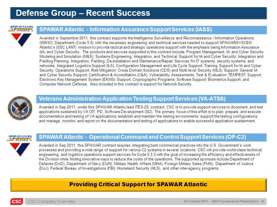 Defense Group – Recent Success