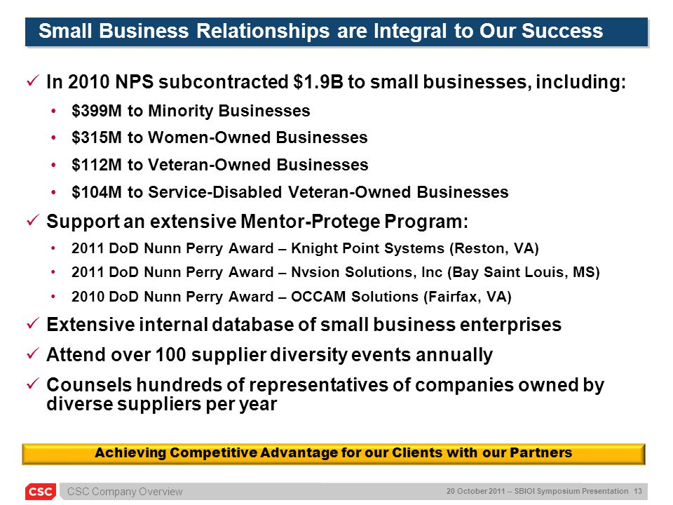 Small Business Relationships are Integral to Our Success