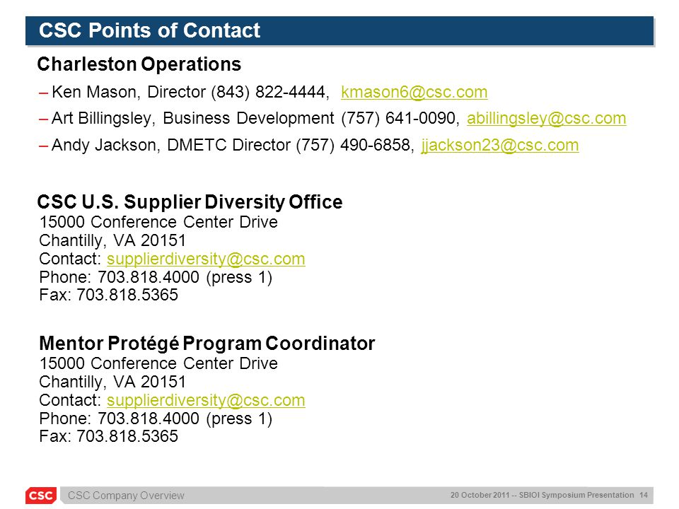 CSC Points of Contact Charleston Operations
