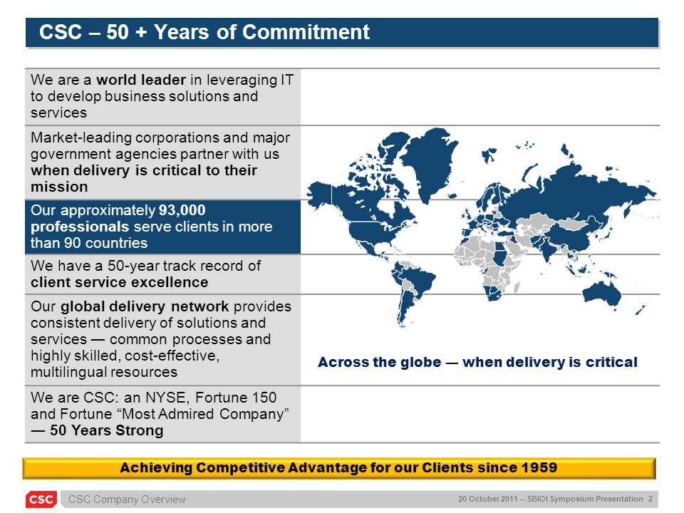 CSC – 50 + Years of Commitment