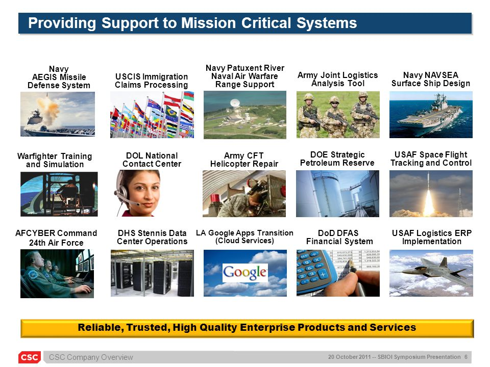 Providing Support to Mission Critical Systems