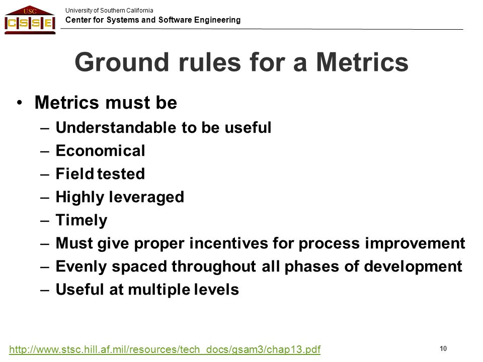 Ground rules for a Metrics
