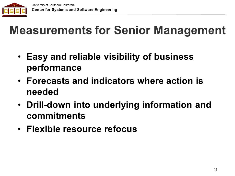 Measurements for Senior Management