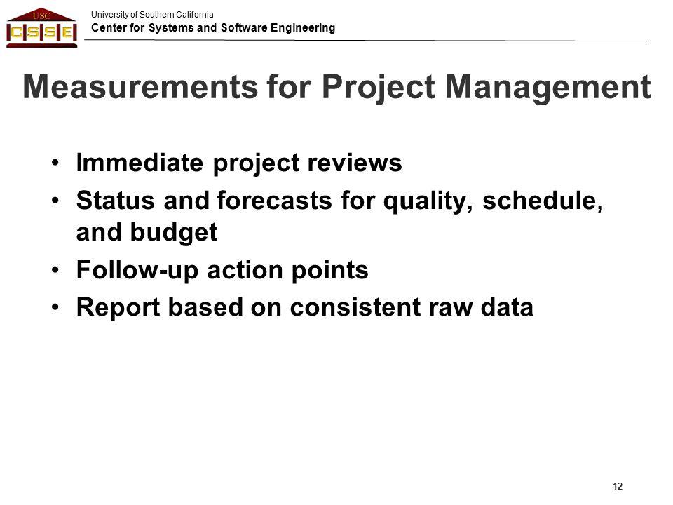 Measurements for Project Management