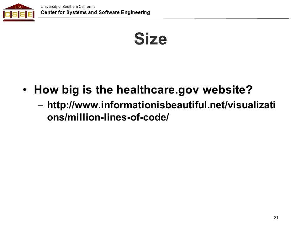 Size How big is the healthcare.gov website