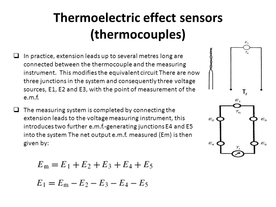 Thermoelectric effect sensors (thermocouples)