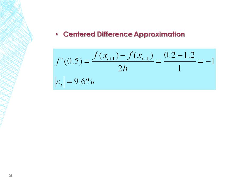 Centered Difference Approximation
