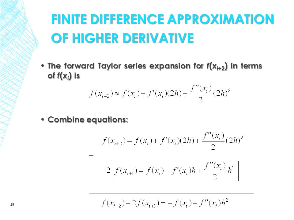 FINITE DIFFERENCE APPROXIMATION OF HIGHER DERIVATIVE
