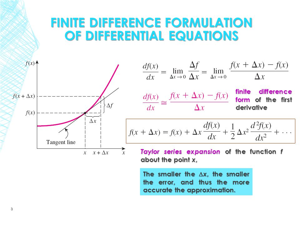 FINITE DIFFERENCE FORMULATION OF DIFFERENTIAL EQUATIONS