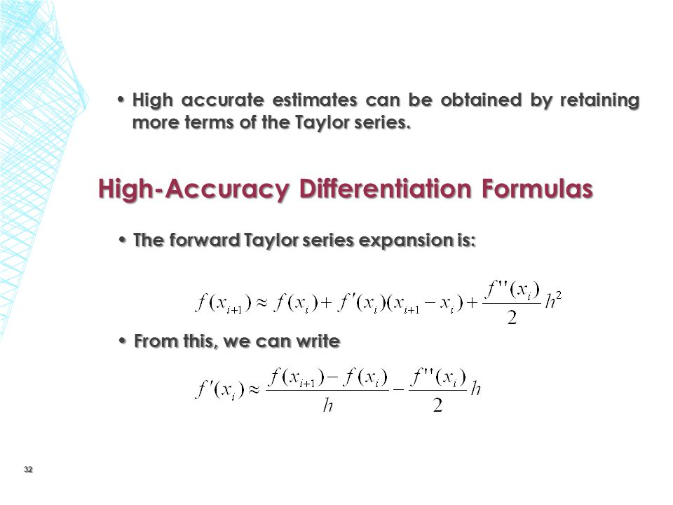High-Accuracy Differentiation Formulas