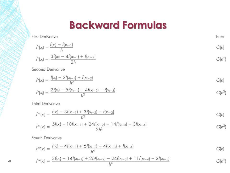 Backward Formulas 35