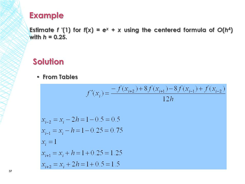 Example Estimate f (1) for f(x) = ex + x using the centered formula of O(h4) with h = 0.25. Solution.