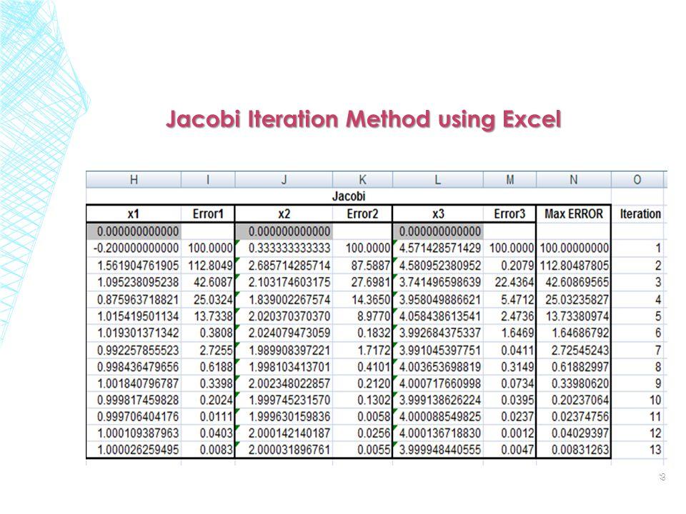 Jacobi Iteration Method using Excel