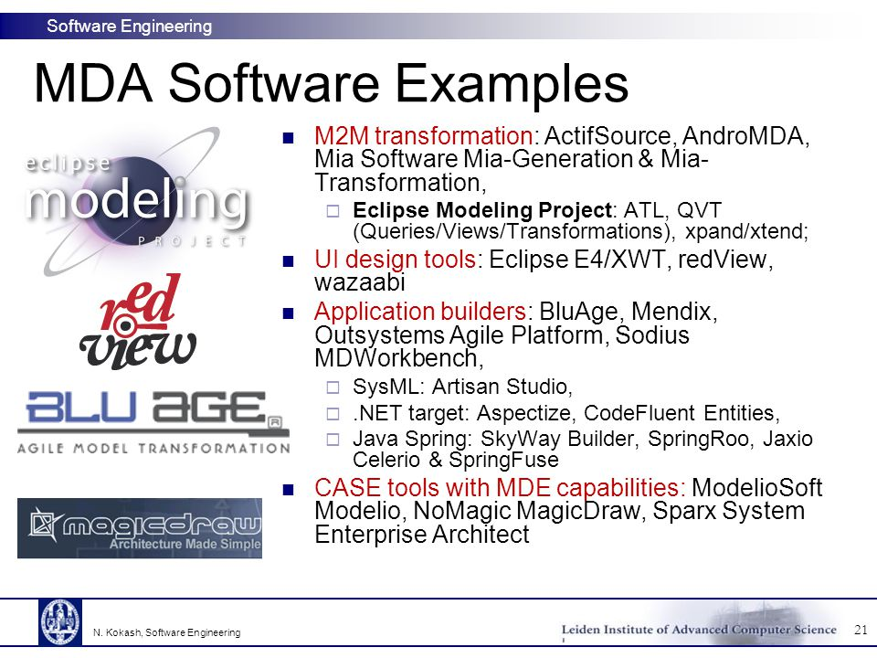 MDA Software Examples M2M transformation: ActifSource, AndroMDA, Mia Software Mia-Generation & Mia-Transformation,