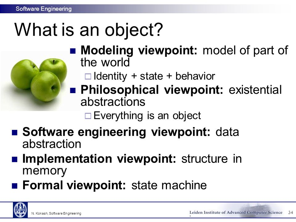 What is an object Modeling viewpoint: model of part of the world