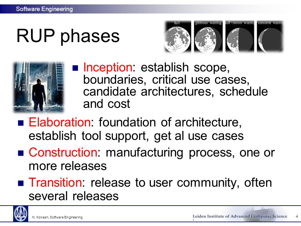 RUP phases Inception: establish scope, boundaries, critical use cases, candidate architectures, schedule and cost.
