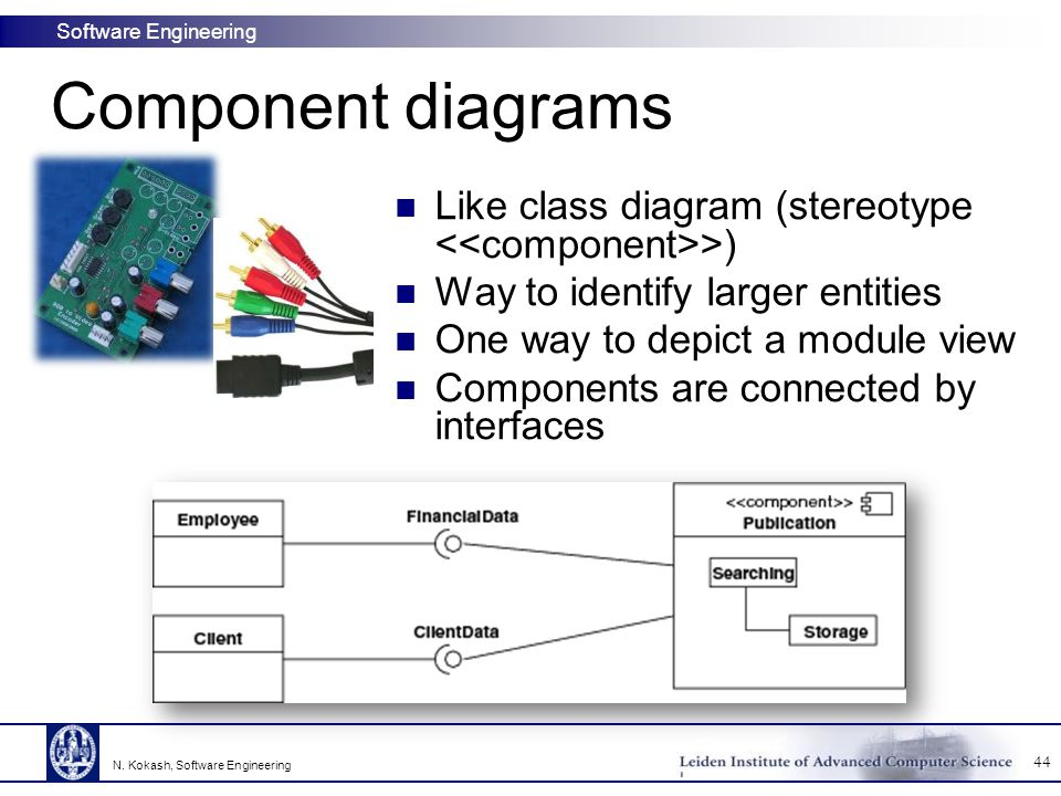 Component diagrams Like class diagram (stereotype <<component>>) Way to identify larger entities. One way to depict a module view.