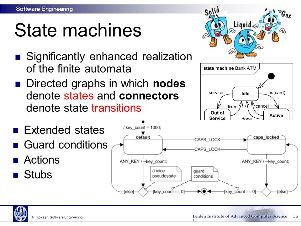 State machines Significantly enhanced realization of the finite automata.
