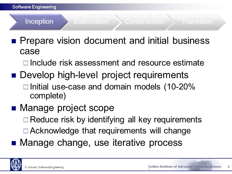 Prepare vision document and initial business case