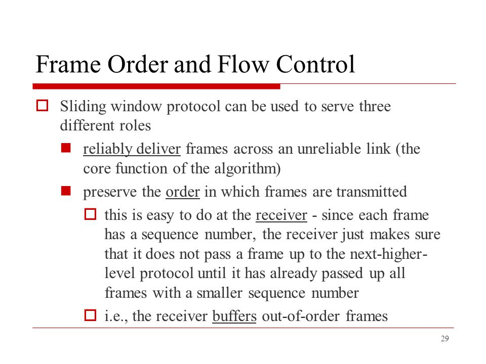 Frame Order and Flow Control