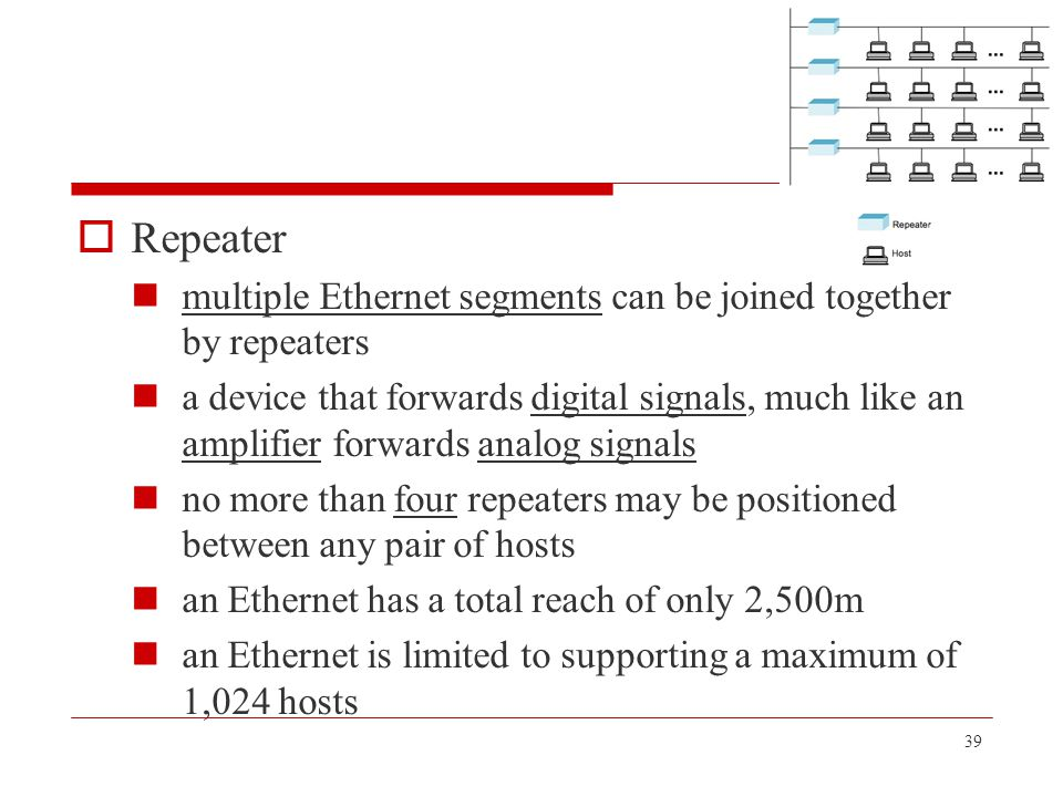 Repeater multiple Ethernet segments can be joined together by repeaters.