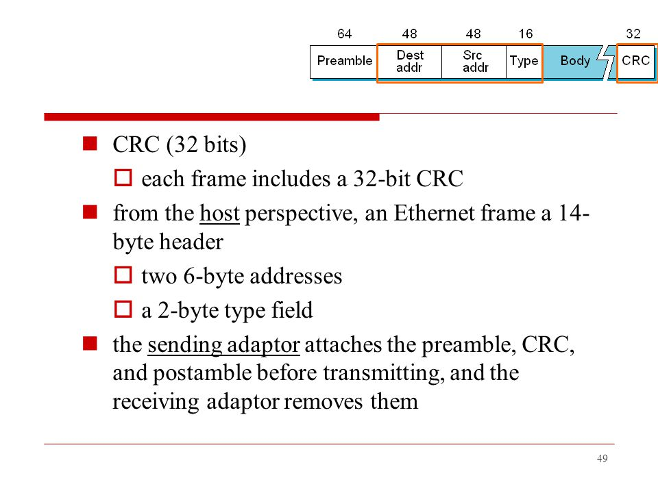 CRC (32 bits) each frame includes a 32-bit CRC. from the host perspective, an Ethernet frame a 14-byte header.