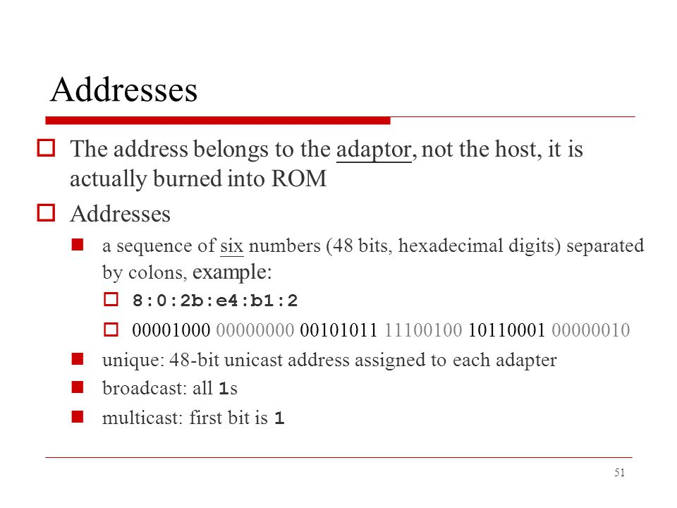 Addresses The address belongs to the adaptor, not the host, it is actually burned into ROM. Addresses.