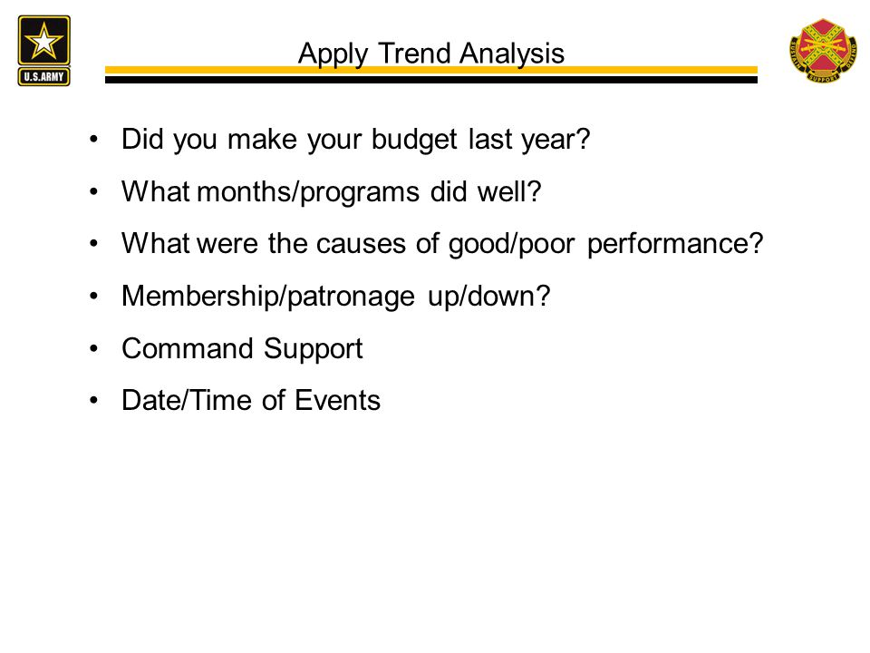 Apply Trend Analysis Did you make your budget last year What months/programs did well What were the causes of good/poor performance