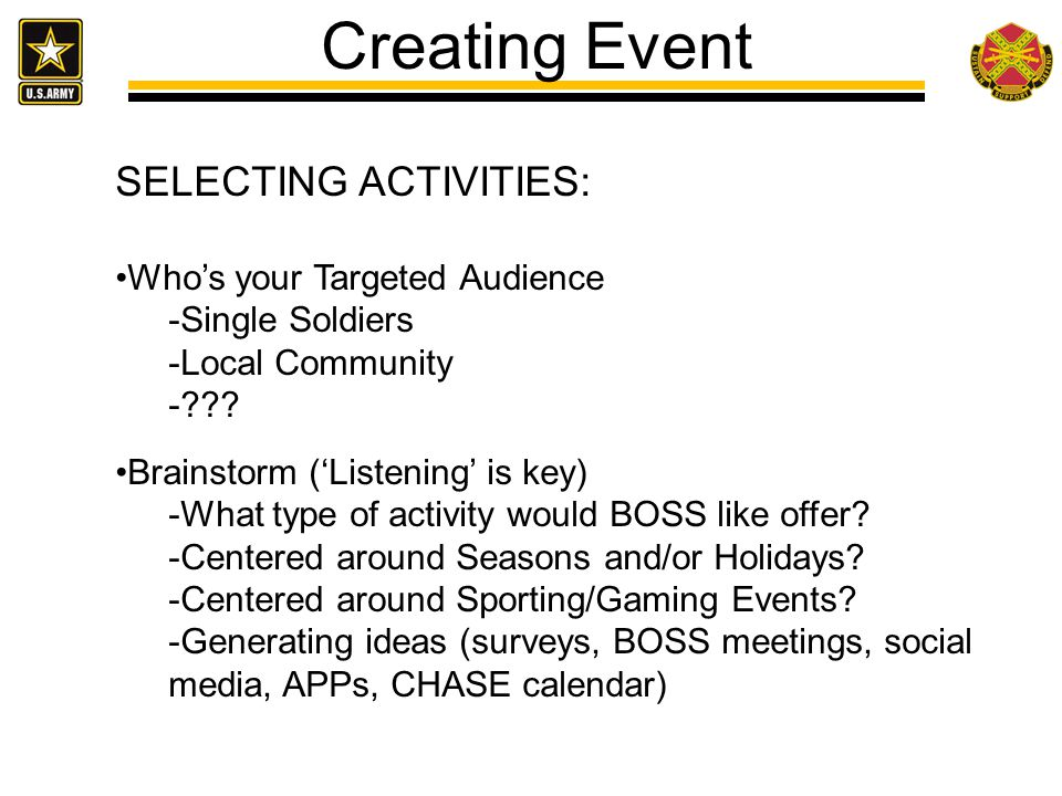 Creating Event SELECTING ACTIVITIES: Who's your Targeted Audience