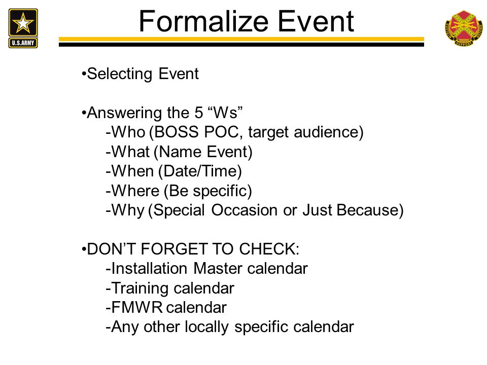 Formalize Event Selecting Event Answering the 5 Ws