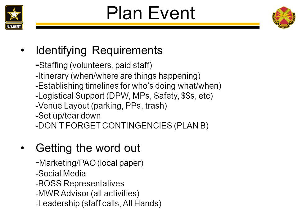 Plan Event Identifying Requirements -Staffing (volunteers, paid staff)