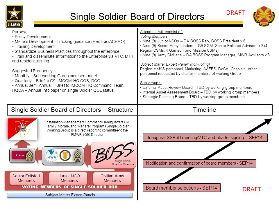 Single Soldier Board of Directors