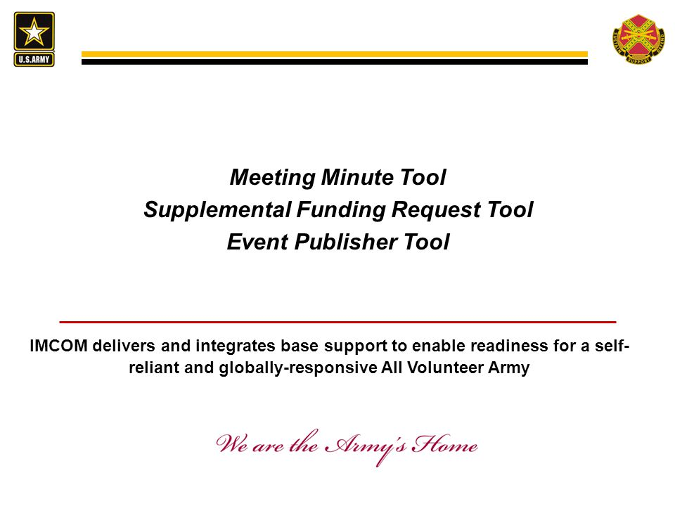 Meeting Minute Tool Supplemental Funding Request Tool Event Publisher Tool