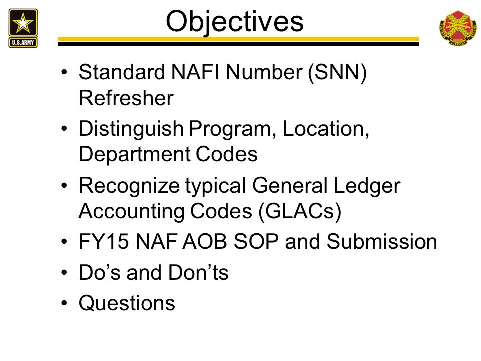 Objectives Standard NAFI Number (SNN) Refresher