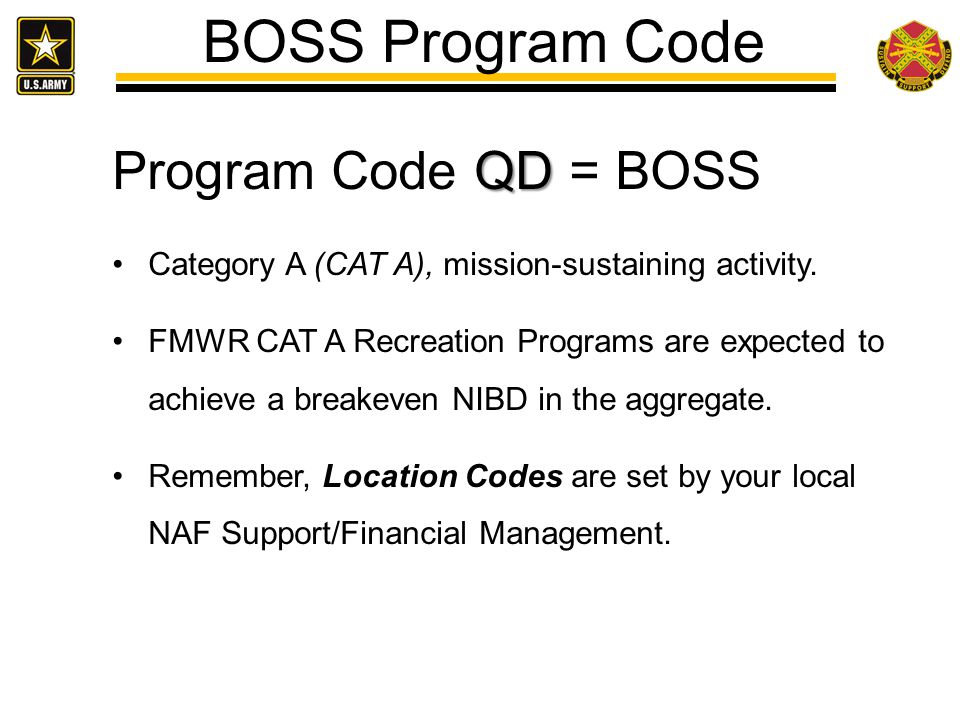 BOSS Program Code Program Code QD = BOSS