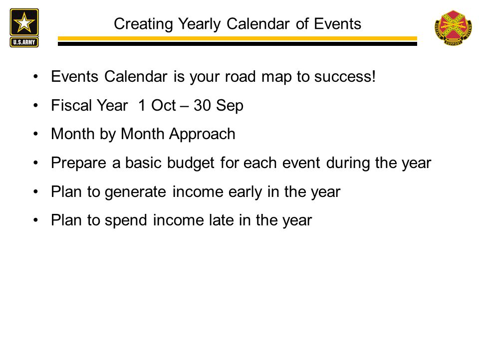 Creating Yearly Calendar of Events