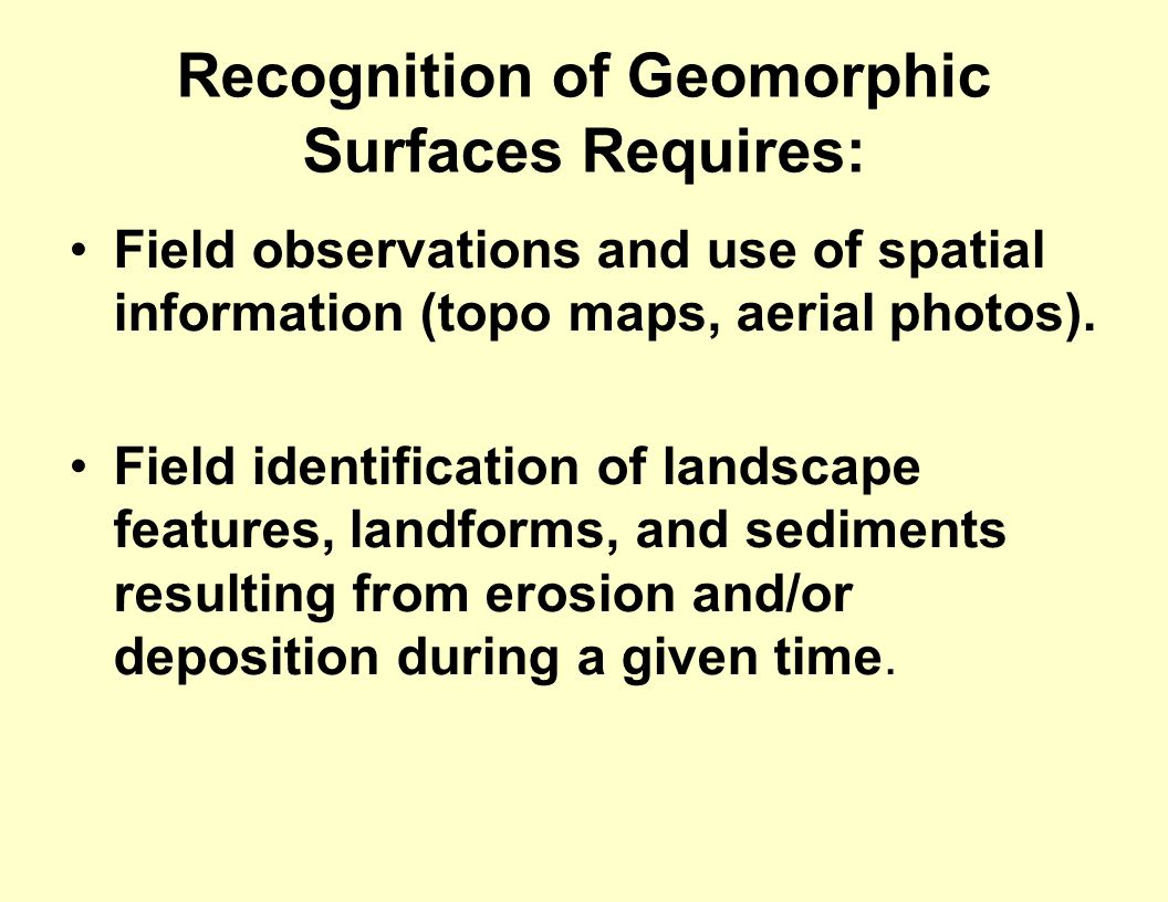 Recognition of Geomorphic Surfaces Requires: