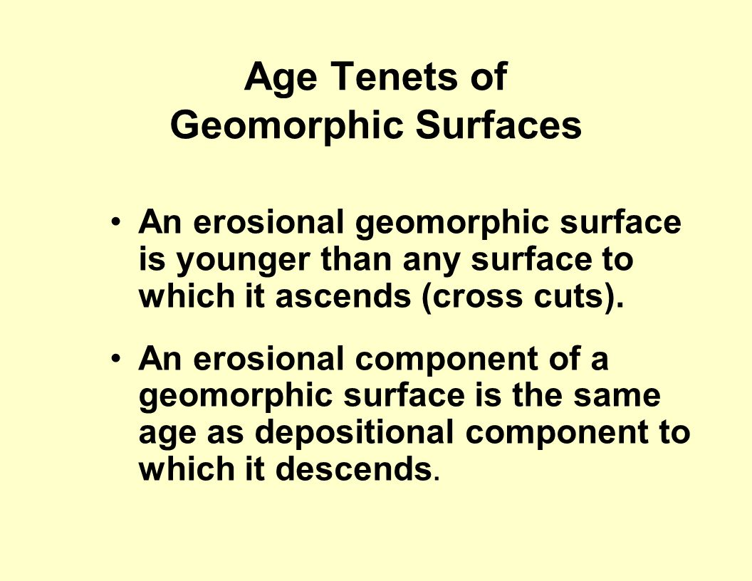 Age Tenets of Geomorphic Surfaces