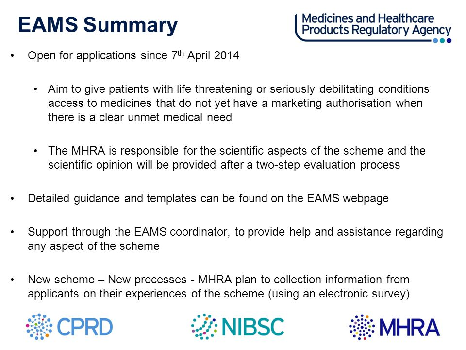 EAMS Summary Open for applications since 7th April 2014