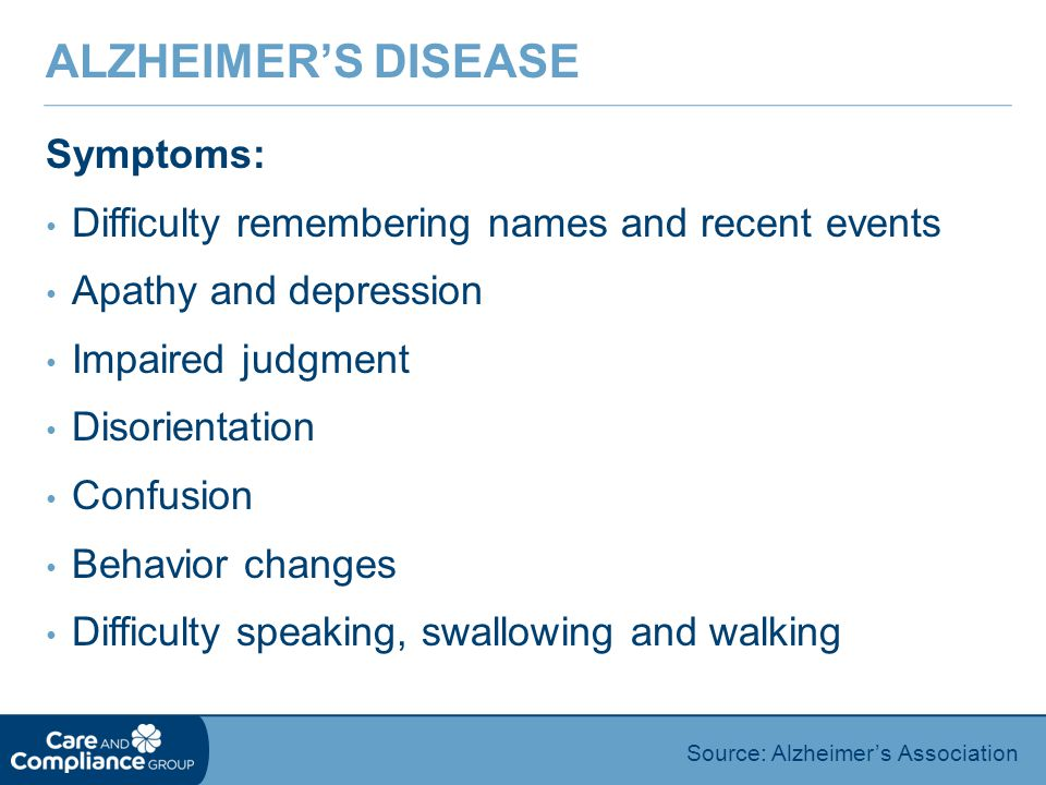 Alzheimer's Disease Symptoms: