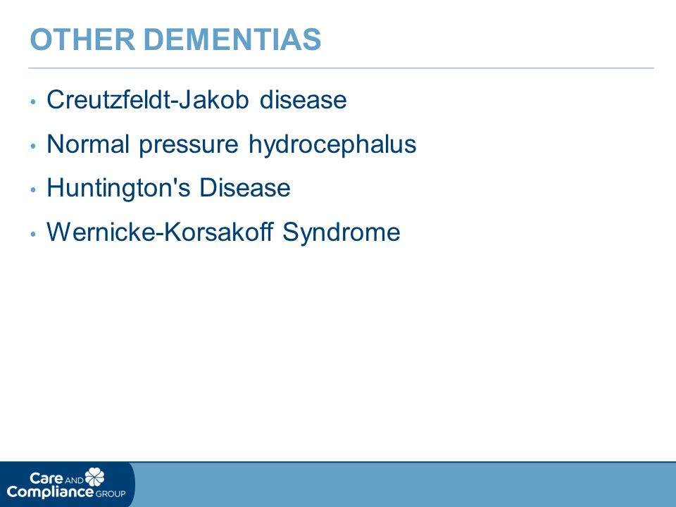 Other Dementias Creutzfeldt-Jakob disease