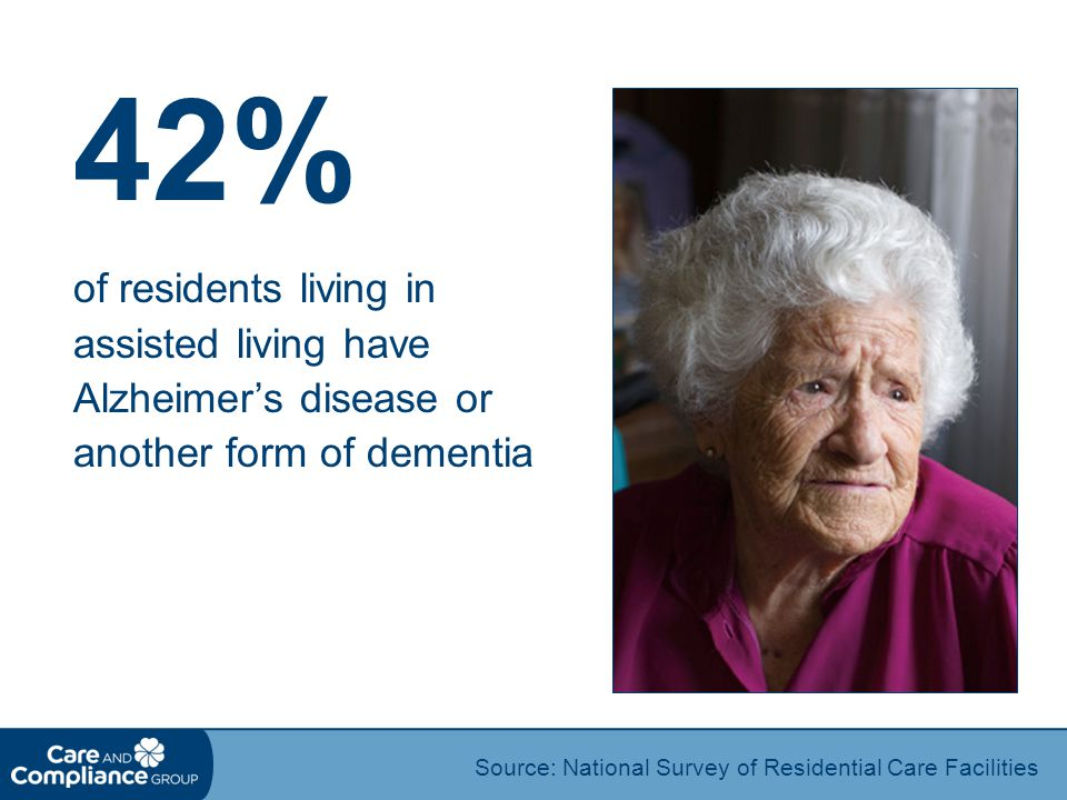 42% of residents living in assisted living have Alzheimer's disease or another form of dementia.