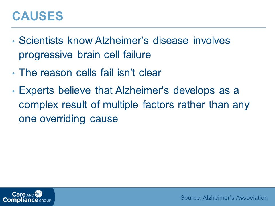 Causes Scientists know Alzheimer s disease involves progressive brain cell failure. The reason cells fail isn t clear.