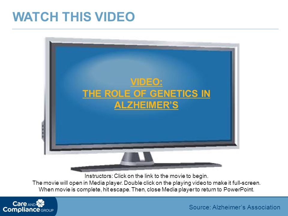 VIDEO: THE ROLE OF GENETICS IN ALZHEIMER'S