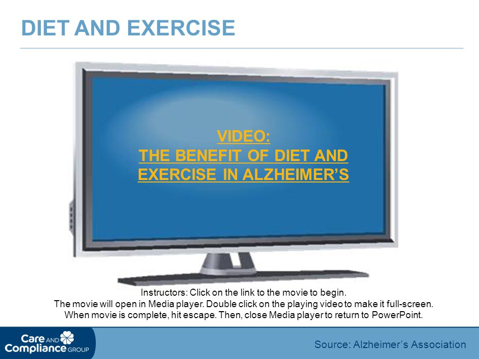 VIDEO: THE BENEFIT OF DIET AND EXERCISE IN ALZHEIMER'S