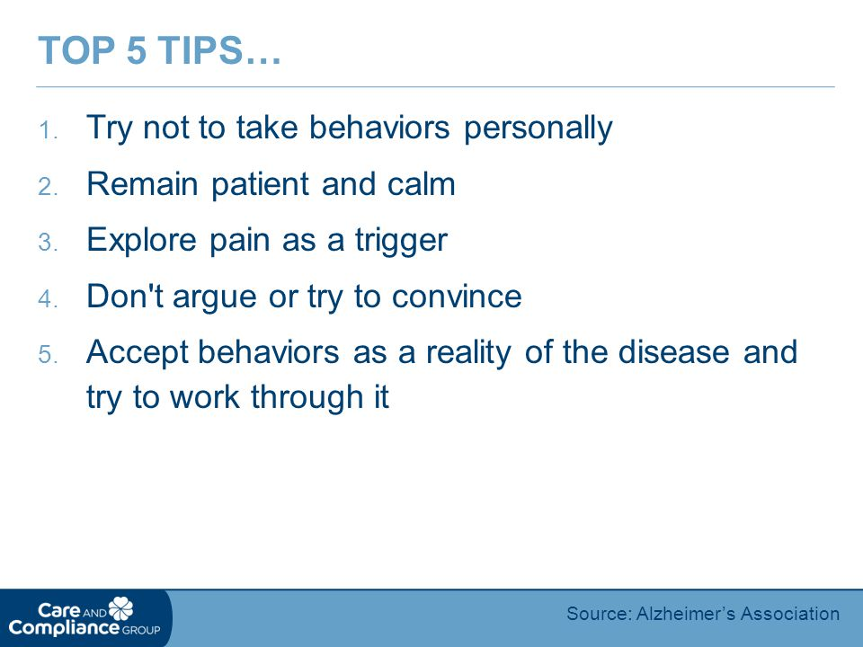 Top 5 Tips… Try not to take behaviors personally