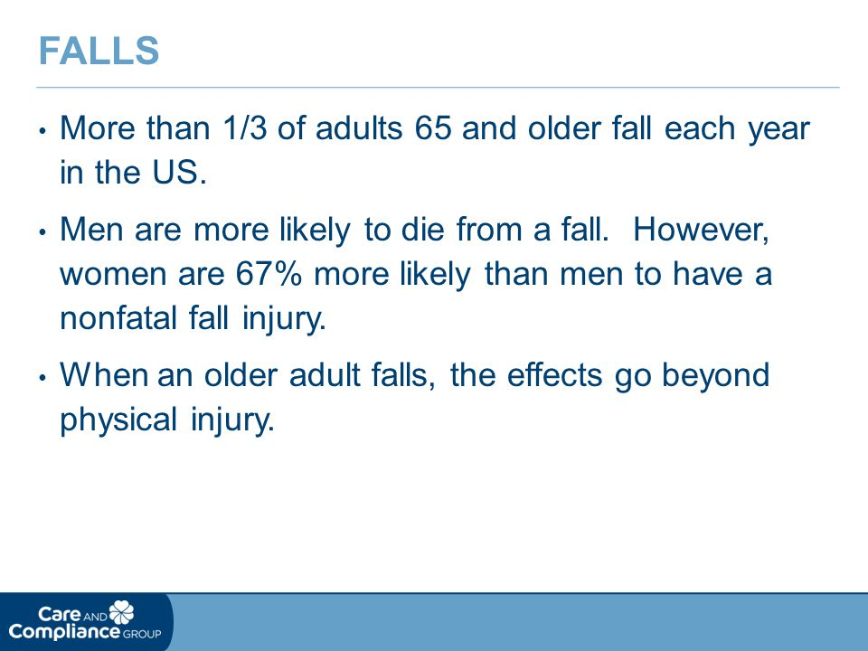 Falls More than 1/3 of adults 65 and older fall each year in the US.