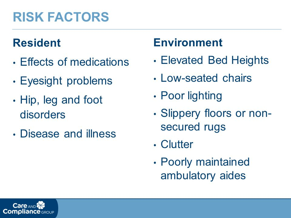 Risk Factors Resident Effects of medications Eyesight problems