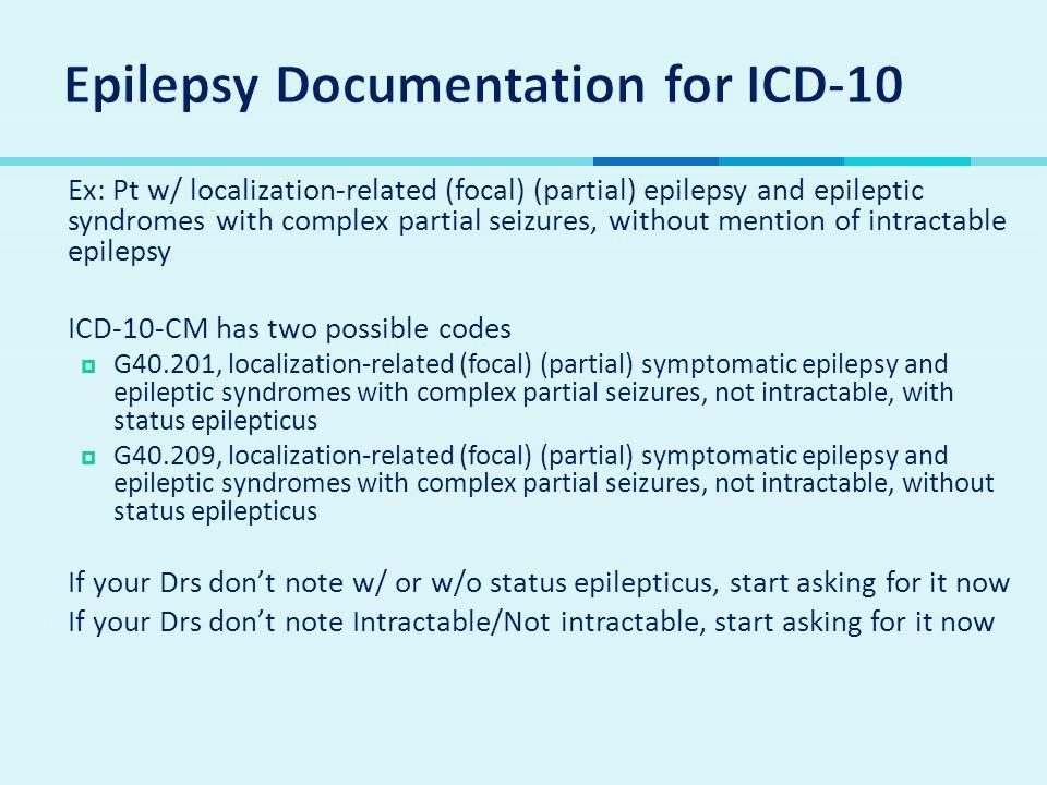 Epilepsy Documentation for ICD-10
